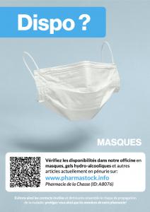 Disponibilité masques, gels hydro-alcooliques